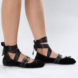 Buckles Tie Leg Velvet Flat Shoes - BLACK