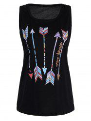 Arrow Print Graphic Top - BLACK