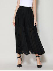 High Waist Chiffon Flowy Wide Leg Pants - BLACK