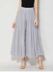 High Waist Chiffon Flowy Wide Leg Pants - LIGHT GRAY