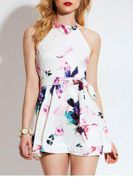 Floral Ink Print Halter Backless Mini Dress
