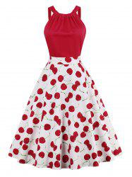 Cherry Print High Waist Pin Up Dress - RED