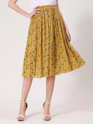 Tiny Floral Print High Waist Midi Skirt