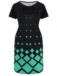 Plus Size Geometric Print Knee Length Dress