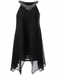 Beaded Asymmetrical Chiffon Dress - BLACK