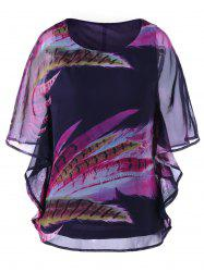 Feather Print Chiffon Top - COLORMIX