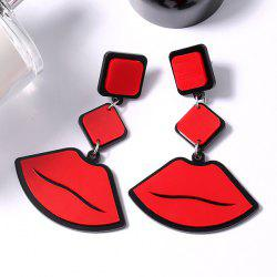 Lip Pendant Geometrical Drop Earrings