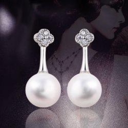 Rhinestone Flower Design Faux Pearl Drop Earrings