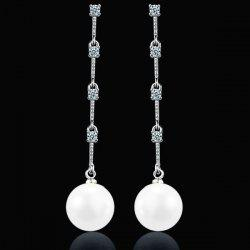 Faux Pearl Link Chian Rhinestone Drop Earrings