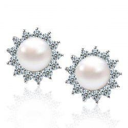 Faux Pearl Rhinstone Sun Shape Stud Earrings