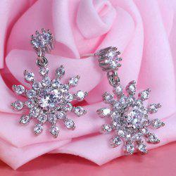 Alloy Rhinestone Flower Design Drop Earrings