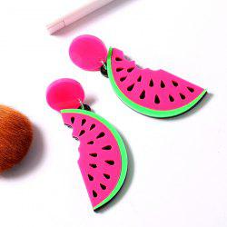 Watermelon Slice Drop Earrings - RED