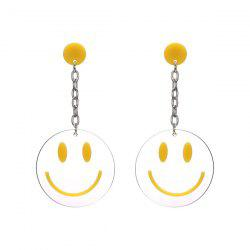 Smiling Face Transparent Round Drop Earrings