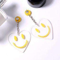 Smile Face Heart Shape Pendant Drop Earrings