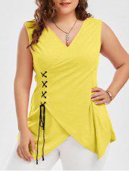 Lace Up Plus Size Surplice Tank Top
