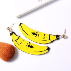 Rhinestone Cartoon Banana Shape Earrings - YELLOW