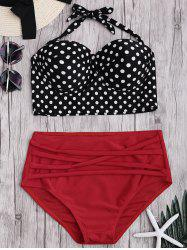Push Up Polka Dot Halter Bikini Set