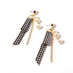 Artificial Pearl Plaid Fabric Chain Earrings