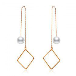 Faux Pearl Geometric Chain Drop Earrings