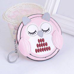 Faux Leather Owl Coin Purse Key Chain -