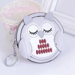 Faux Leather Owl Coin Purse Key Chain - SILVER