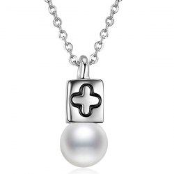 Faux Pearl Cross Collarbone Pendant Necklace