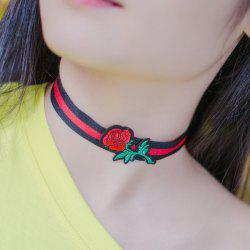 Striped Rose Embroidered Choker Necklace