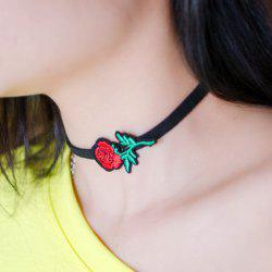 Rose Embroidered Vintage Choker Necklace - RED