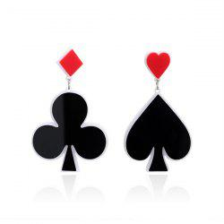 Poker Heart Geometric Funny Earrings -