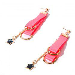 Ribbon Circle Star Chain Earrings