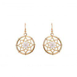 Circle Shell Flower Rhinestone Hook Earrings