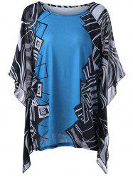 Plus Size Geometric Butterfly Sleeve Blouse