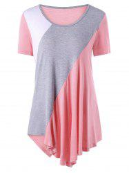 Asymmetrical Color Block Tunic Top - PINK