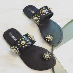 Studded Toe Ring Flat Heel Slippers