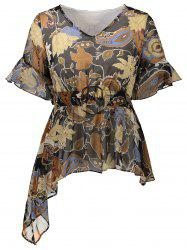 Floral Print Asymmetrical O Ring Design Blouse
