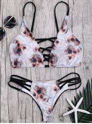 Animal Print Criss Cross Ladder Strap Bikini