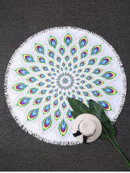 Sunbath Peacock Feather Round Fringed Beach Throw