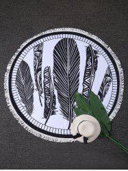 Feather Print Round Fringed Beach Throw - Blanc Et Noir