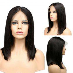 Medium Center Part Straight Lace Front Synthetic Wig - BLACK