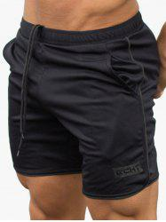 Drawstring Elastic Waist Graphic Shorts