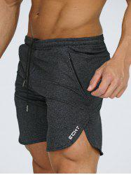 Side Slit Zipper Pocket Heathered Shorts