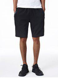 Edging Drawstring Zip Up Pockets Sweat Shorts
