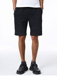 Drawstring Edging Zip Up Pocket Embroidered Sweat Shorts