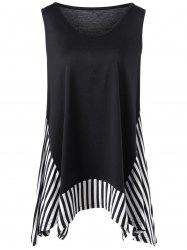 Plus Size Sleeveless Striped Trim T-shirt