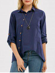 Slant Oblique Button Linen Shirt