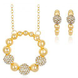Beaded Rhinestone Circle Ring Jewelry Set
