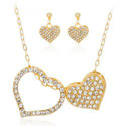 Double Rhinestone Heart Jewelry Set