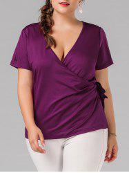 V Neck Split Sleeve Plus Size Wrap Top