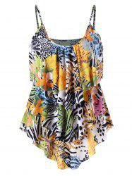 Layered Tropical Leaf Cami Top - COLORMIX XL