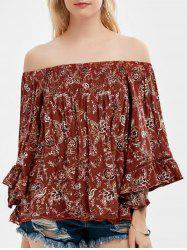Floral Bell Sleeve Off The Shoulder Top